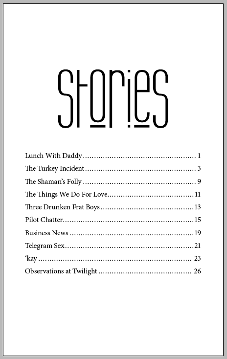 Table of Contents for Thong Sized Stories